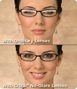 Crizal no-glare lenses reduce reflection, glare, smudges and scratches